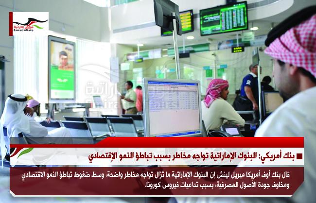 بنك أمريكي: البنوك الإماراتية تواجه مخاطر بسبب تباطؤ النمو الإقتصادي